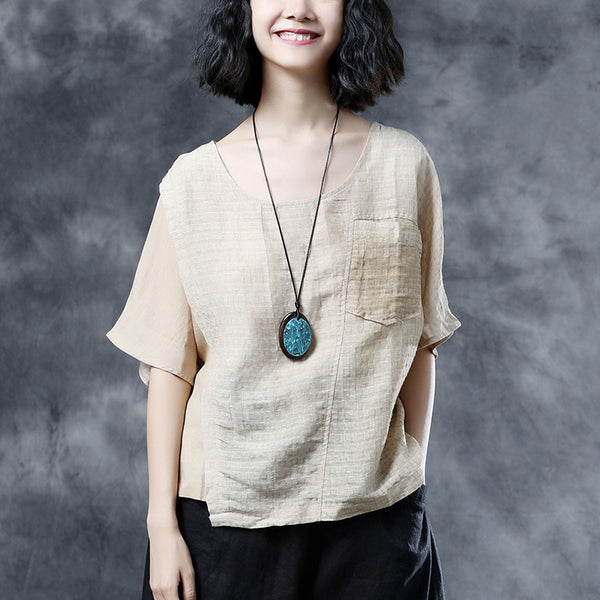 Leisure Linen Beige Short Sleeve Women Pockets Summer Blouses