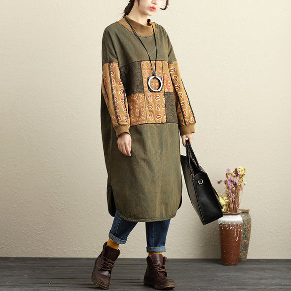 Winter Loose Splicing Printing Green Thick Dresses For Women - Buykud