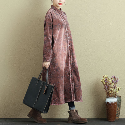 Women Autumn Single Breasted Polo Collar Long Sleeve Printing Dress - Buykud