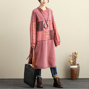 Winter Loose Splicing Printed Pink Thick Dress For Women - Buykud