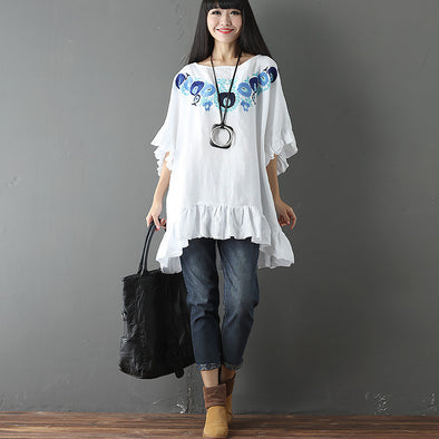Embroidered  Women Round Neck White Shirt - Buykud