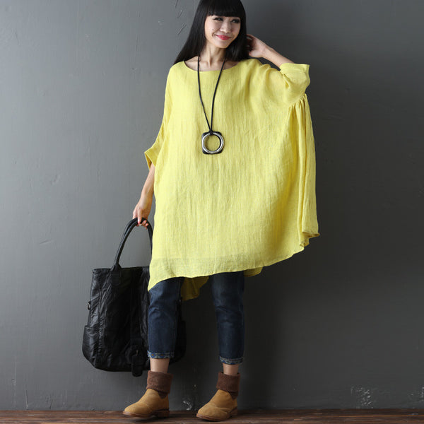 Cotton Linen Loose Summer Women Casual Folded Yellow Dress