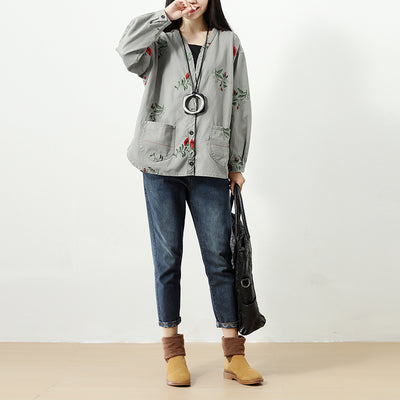 Women Single Breasted Retro Long Sleeve Embroidery Pockets Coat - Buykud
