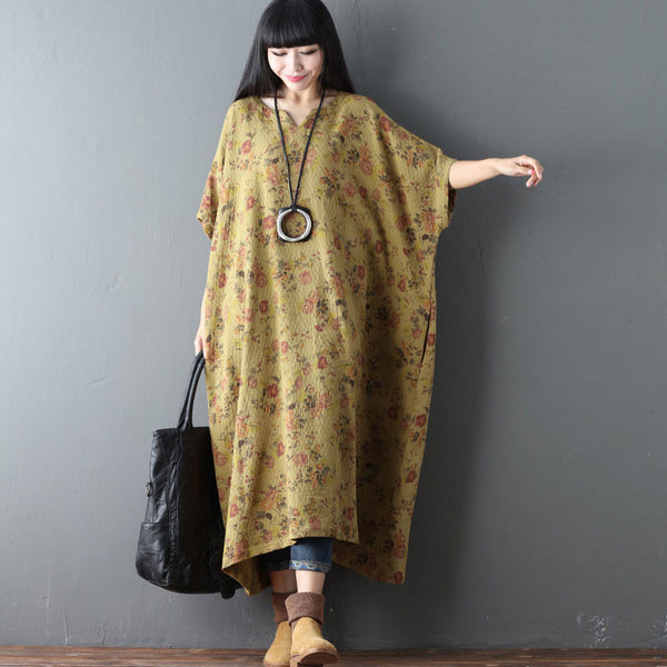 Printing Floral Loose Casual Cotton Linen Retro Yellow Dress