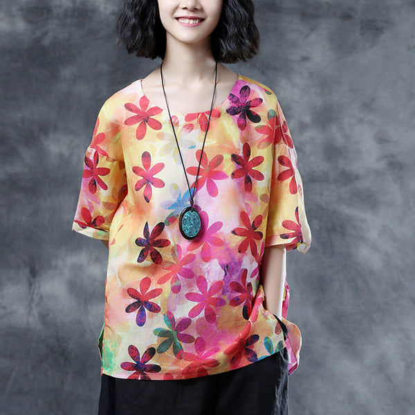 Short Sleeve Ramie Multicolor Flower Summer Women Blouse Shirt