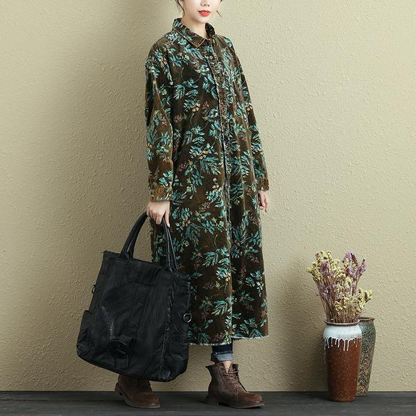Women Autumn Polo Collar Long Sleeve Printing Dress