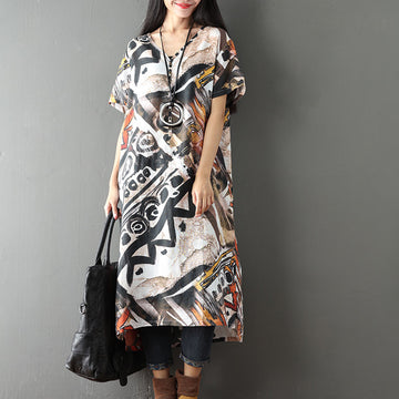 Women Printing Retro Casual Loose Short Sleeve Dress - Buykud