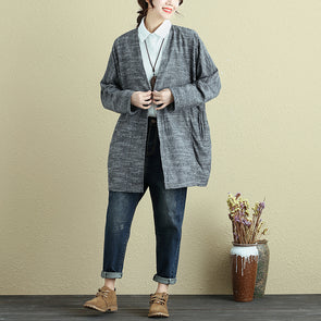 Keep Warm Long Sleeves Cardigan Autumn Winter Gray Coat For Women - Buykud