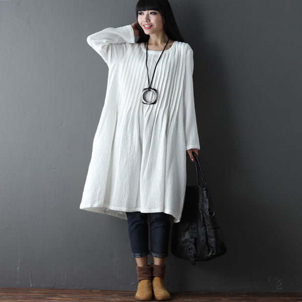 Folded Women Loose Casual Cotton Spring Plain White Dress