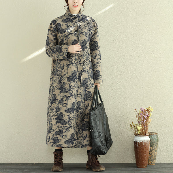 Women Autumn Winter Stand Collar Buttons Long Coat - Buykud