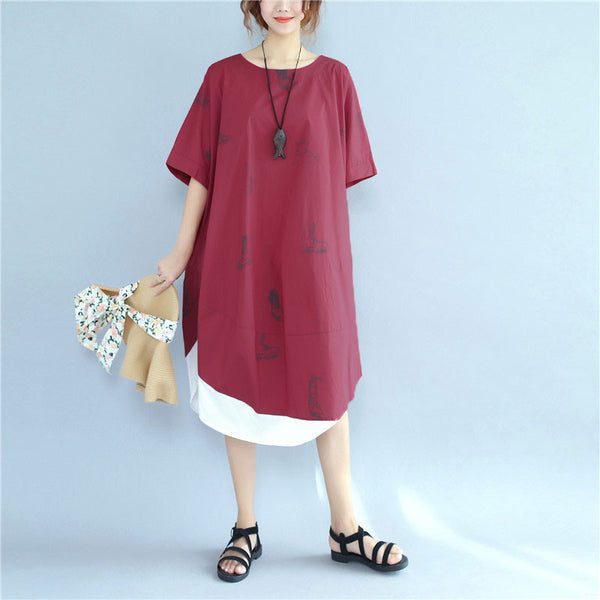 Printing Women Loose Casual Cotton Splicing Summer Red Dress - Buykud