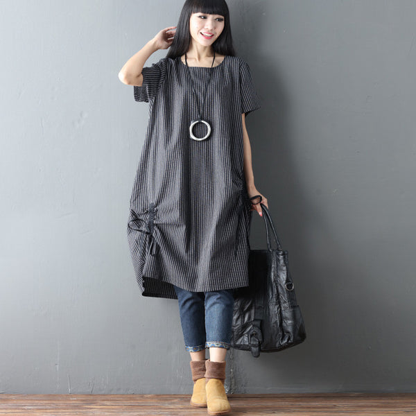 Splitting Women Stripe Loose Linen Cotton Casual Lacing Black Dress