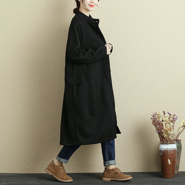 Winter Women Stand Collar Single Breasted Long Sleeve Coat - Buykud