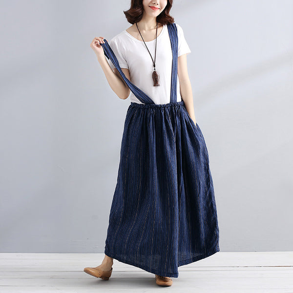Loose Casual Stripe Women Dark Blue And White Suspender Skirt