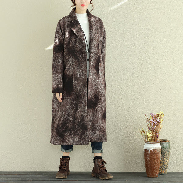 Women Autumn Winter Retro Lapel Long Sleeve Pockets Long Coat - Buykud
