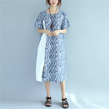 Women Splicing Causal Splitting Short Sleeve Blue Dress - Buykud