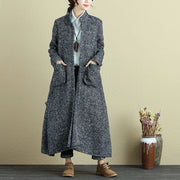 Winter Women Loose Stand Collar Long Sleeve Double Pocket Cardigan Coat - Buykud