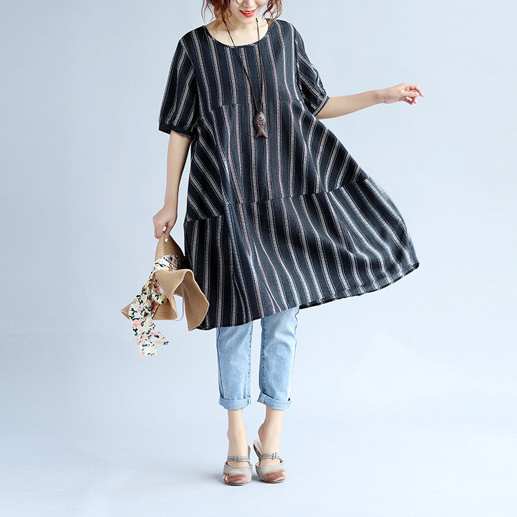 Loose Stripe Women Linen Splicing Black Dress
