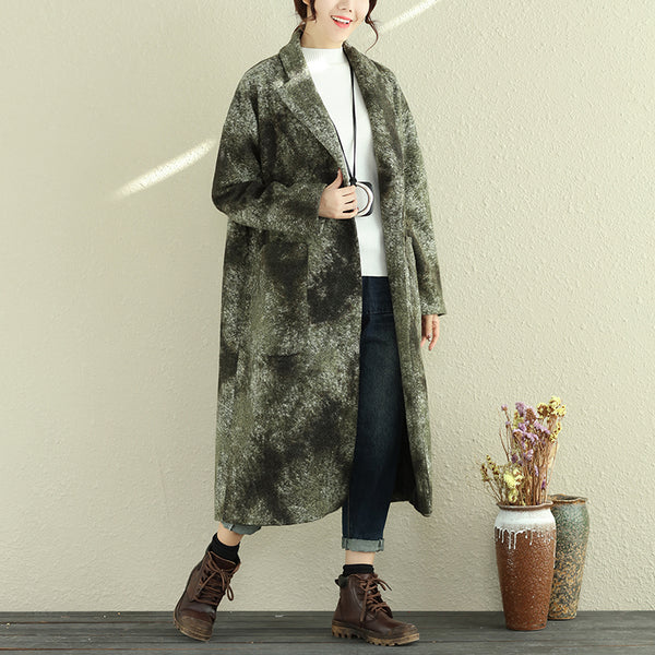 Women Autumn Winter Retro Lapel Long Sleeve Pockets Long Coat