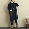 Autumn Retro Double Pocket Dark Blue Coat For Women - Buykud