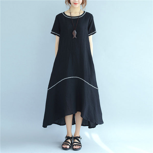 Women Irregular Splitting Casual Short Sleeve Black Dress - Buykud