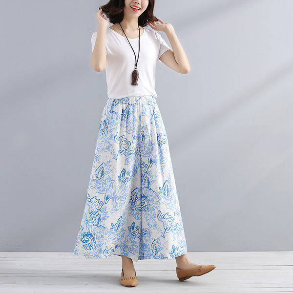 Women Summer Casual Printing Blooming Stylish Cotton Loose Pants - Buykud
