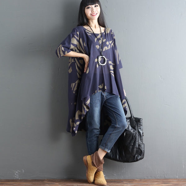 Printing Irregular Women Loose Summer Cotton Linen Navy Blue Shirt