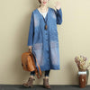 Autumn Printing V Neck Loose Purple Red Denim Coat For Women