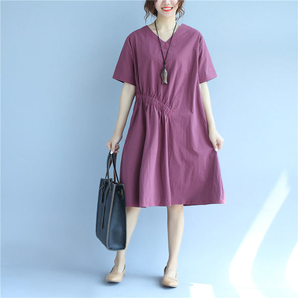 Cotton Women Loose Casual Summer Plain Red Dress - Buykud