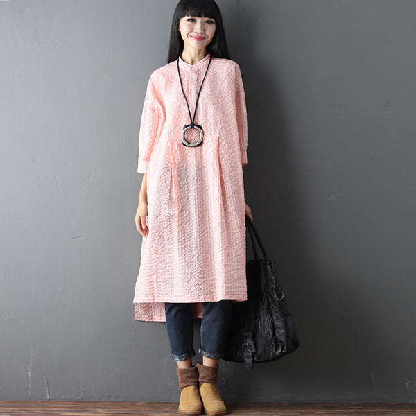 Irregular Folded Women Loose Summer Linen Casual Plain Pink Dress