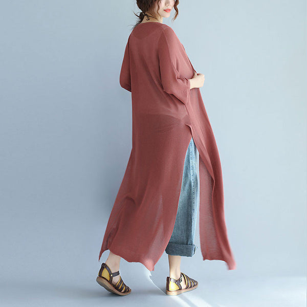 Graceful Linen Slit Three Quarter Sleeves Women Coffee Coat
