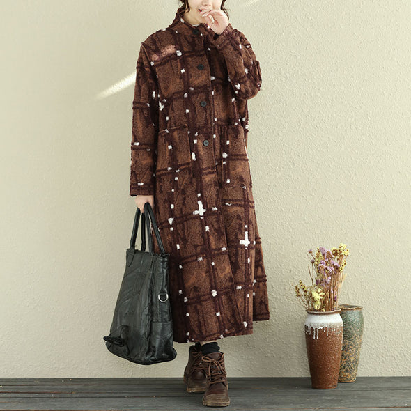 Casual Stand Collar Long Sleeve Women Woolen Coat - Buykud