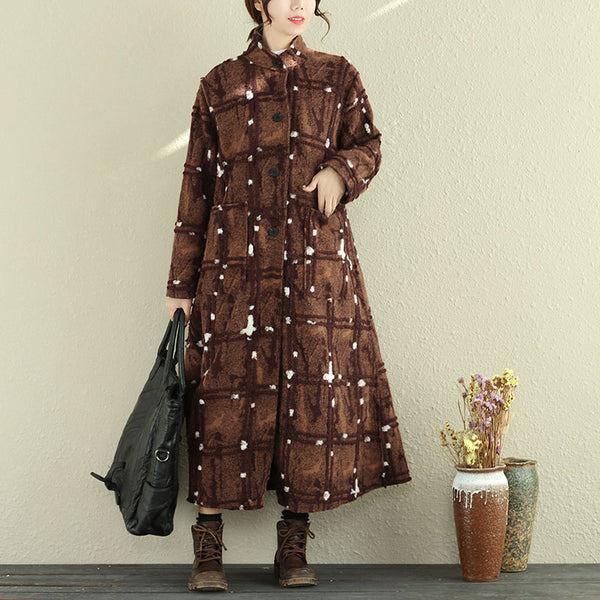Casual Stand Collar Long Sleeve Women Woolen Coat
