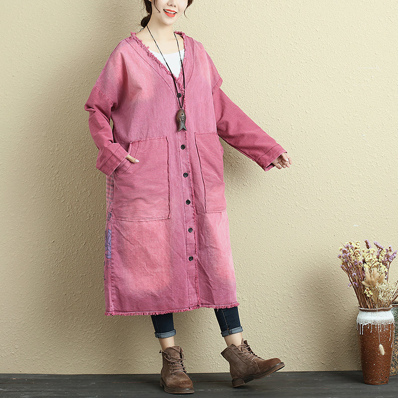 Autumn Printing V Neck Loose Purple Red Denim Coat For Women - Buykud