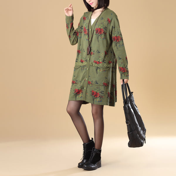 Graceful Women Printing Lace Single Breasted Long Sleeve Green Knitted Sweater Dress - Buykud