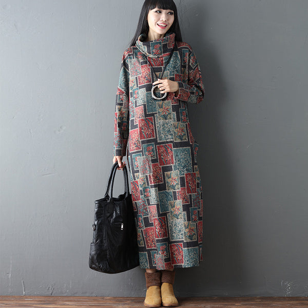 Turtleneck Printing Loose Casual Spring Women Floral Retro Dress