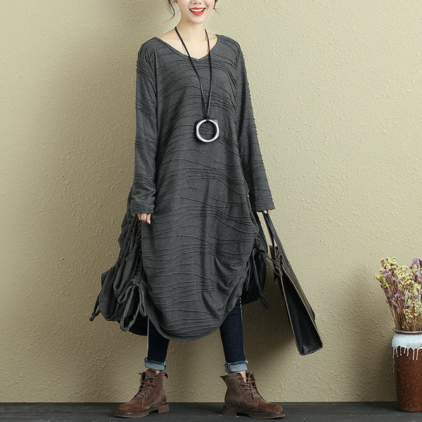 Women's Fashion Folded Chic Jacquard V Neck Long Sleeve Dress - Buykud