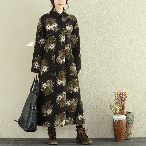 Retro Women Floral Woolen Coat Winter Loose Overcoat
