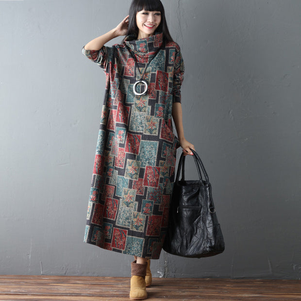 Turtleneck Printing Loose Casual Spring Women Floral Retro Dress - Buykud