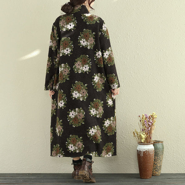 Retro Women Floral Woolen Coat Winter Loose Overcoat - Buykud