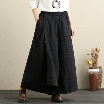 Women Cotton Black Pants Winter Casual Loose Trousers - Buykud