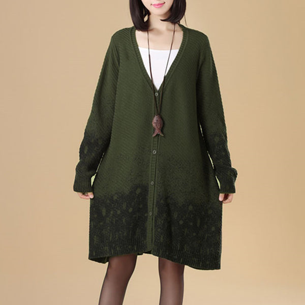 Women Single Breasted Green Printing Knitted Sweater Dress - Buykud