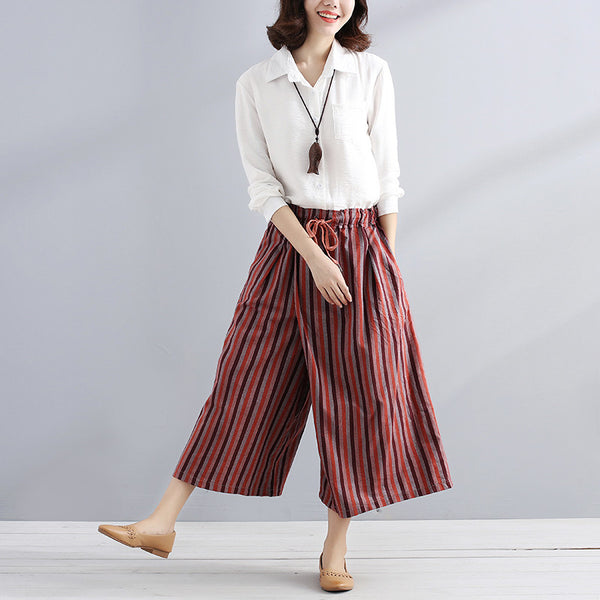 Women Summer Casual Stripe Stylish Color Match Loose Red Pants