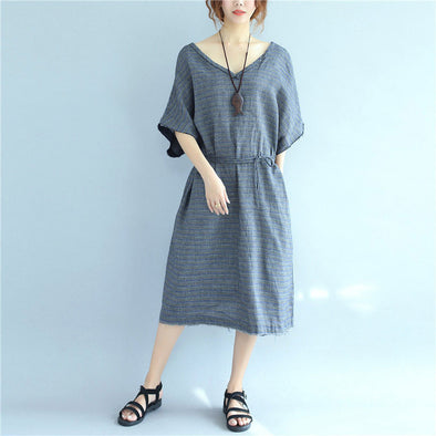 Vintage Cotton Pocket Strap Women Loose Light Gray And Yellow Dress - Buykud
