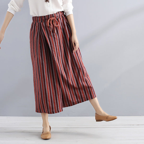 Women Summer Casual Stripe Stylish Color Match Loose Red Pants - Buykud