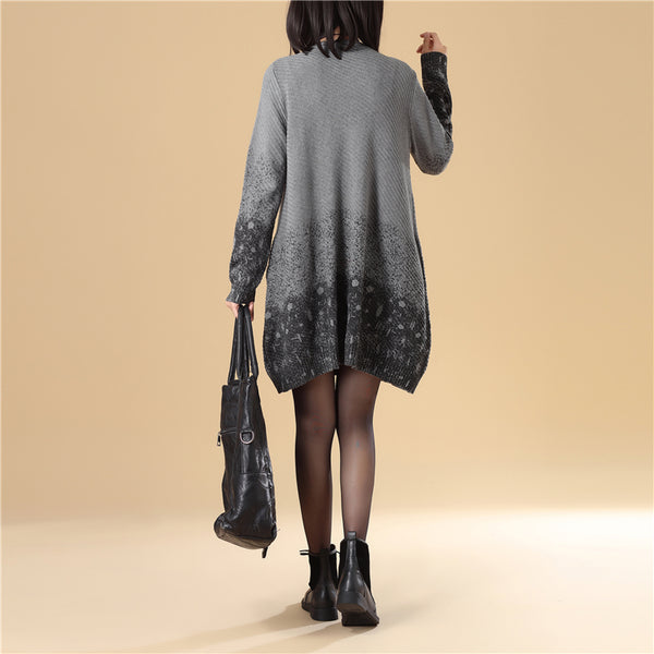 Fashion Women Single Breasted Gray Printing Knitted Sweater Dress - Buykud