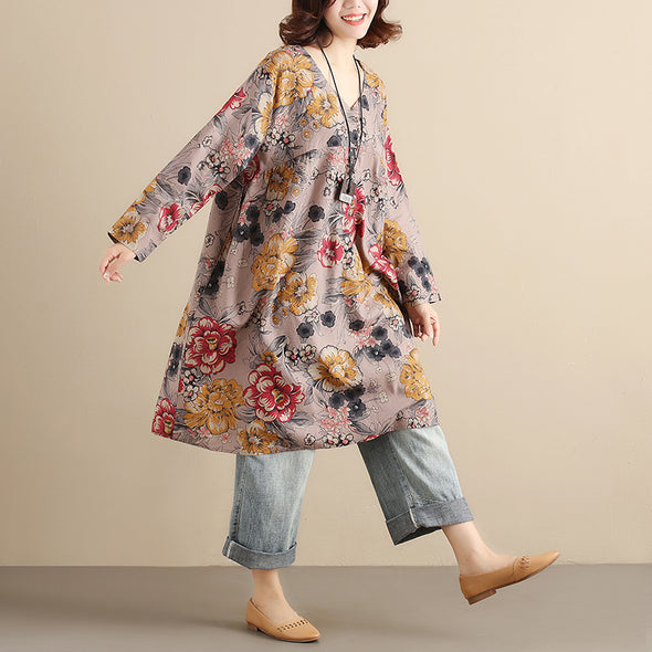 Retro Printing V Neck Long Sleeves Splicing  Loose Women Gray Floral Dress - Buykud