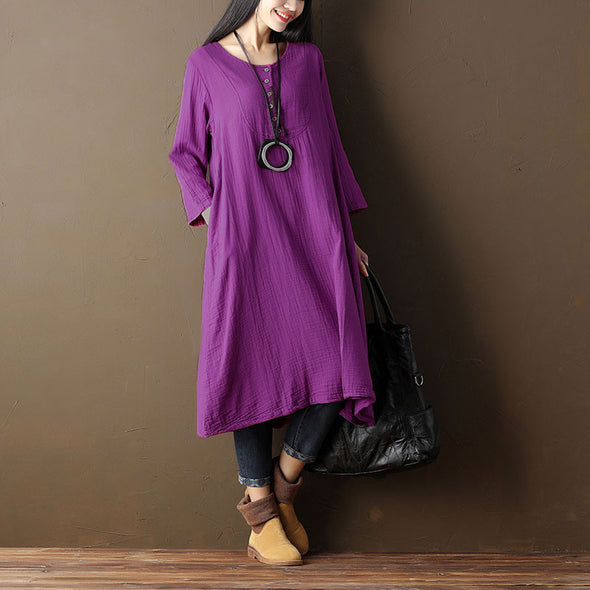 Retro Button Cotton Summer Women Loose Casual Purple Dress - Buykud