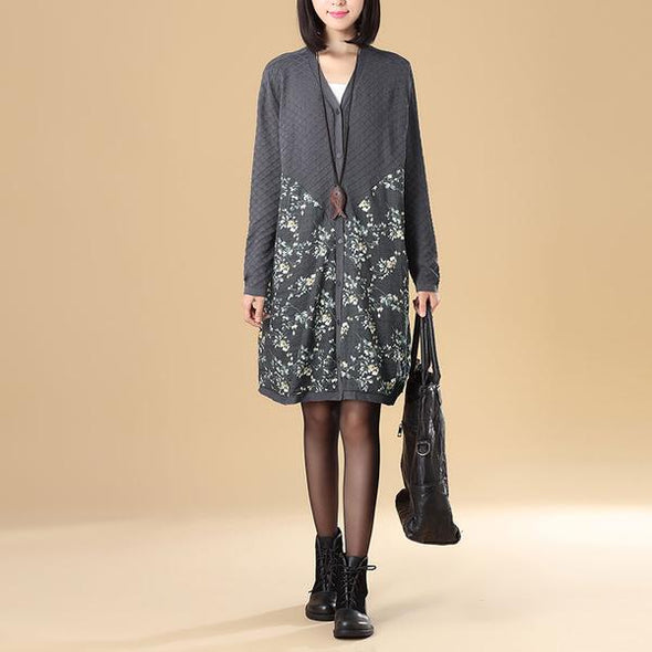 Women Floral Printing Splicing Single Breasted Beige Sweater Dress