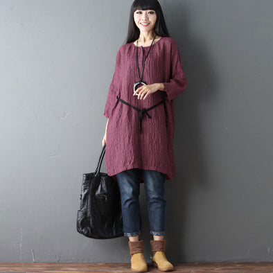 V Neck Casual Linen Women Red Dress - Buykud